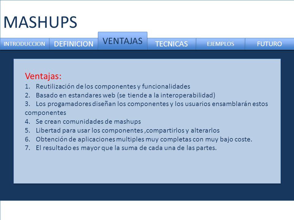 DEFINICION TECNICAS INTRODUCCION VENTAJAS EJEMPLOS FUTURO Ventajas: 1.Reutilización de los componentes y funcionalidades 2.Basado en estandares web (s