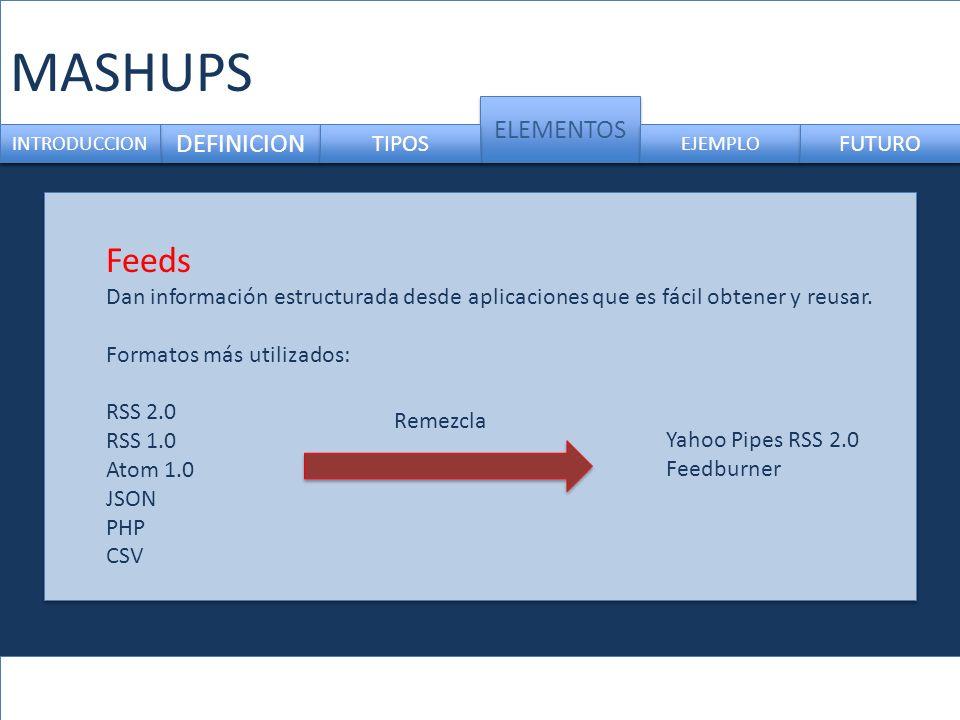 MASHUPS DEFINICION ELEMENTOS INTRODUCCION TIPOS EJEMPLO FUTURO Feeds Dan información estructurada desde aplicaciones que es fácil obtener y reusar. Fo