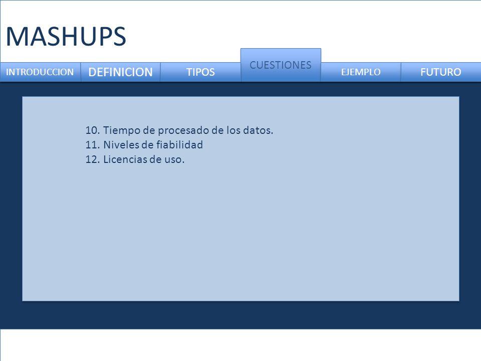MASHUPS DEFINICION CUESTIONES INTRODUCCION TIPOS EJEMPLO FUTURO 10. Tiempo de procesado de los datos. 11. Niveles de fiabilidad 12. Licencias de uso.