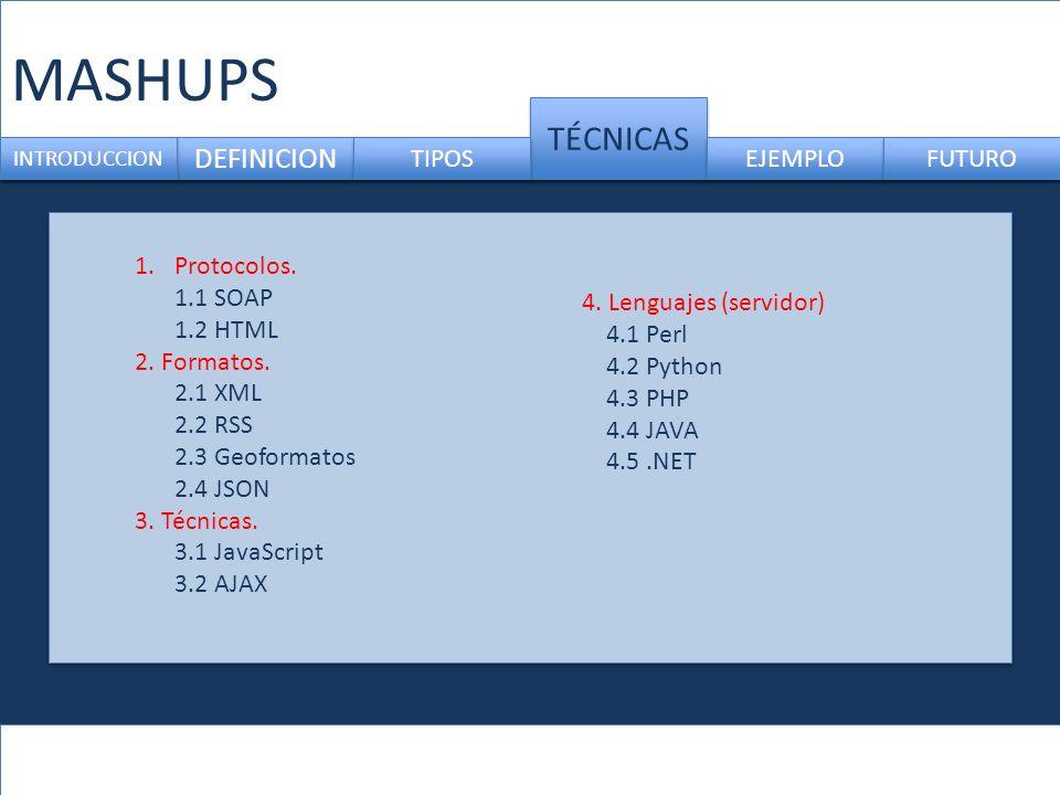 MASHUPS DEFINICION TÉCNICAS INTRODUCCION TIPOS EJEMPLO FUTURO 1.Protocolos.
