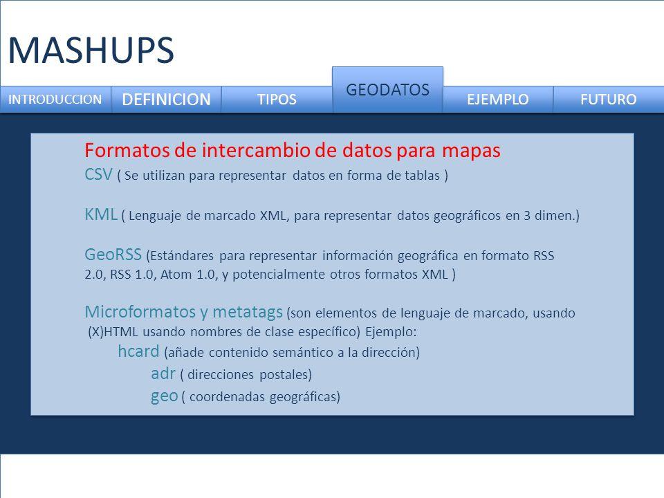 MASHUPS DEFINICION GEODATOS INTRODUCCION TIPOS EJEMPLO FUTURO Formatos de intercambio de datos para mapas CSV ( Se utilizan para representar datos en forma de tablas ) KML ( Lenguaje de marcado XML, para representar datos geográficos en 3 dimen.) GeoRSS (Estándares para representar información geográfica en formato RSS 2.0, RSS 1.0, Atom 1.0, y potencialmente otros formatos XML ) Microformatos y metatags (son elementos de lenguaje de marcado, usando (X)HTML usando nombres de clase específico) Ejemplo: hcard (añade contenido semántico a la dirección) adr ( direcciones postales) geo ( coordenadas geográficas)