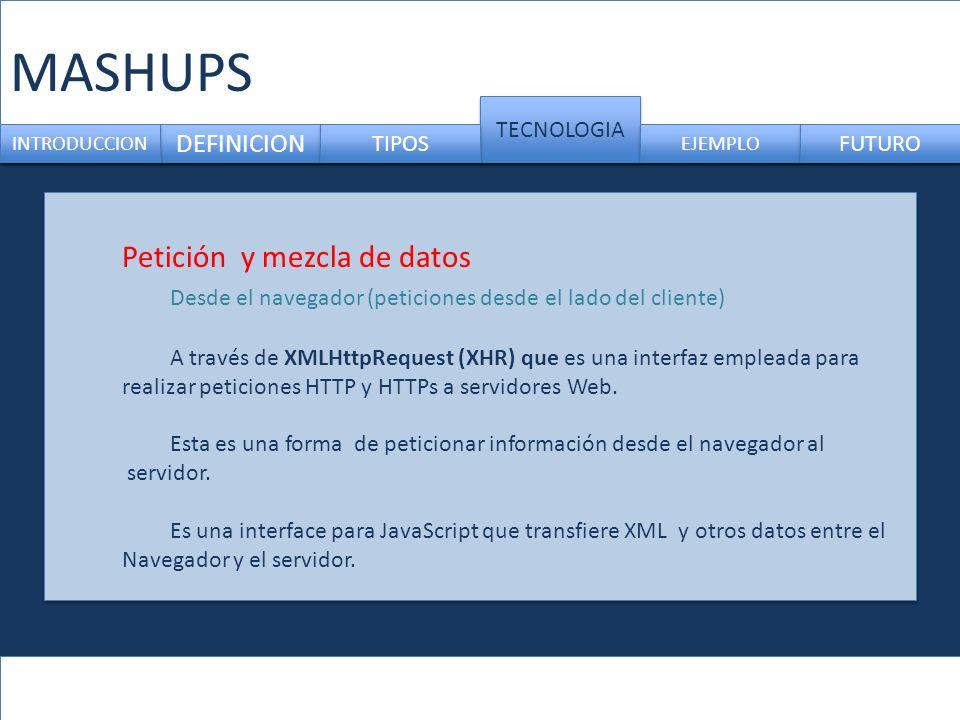 MASHUPS DEFINICION TECNOLOGIA INTRODUCCION TIPOS EJEMPLO FUTURO Petición y mezcla de datos Desde el navegador (peticiones desde el lado del cliente) A través de XMLHttpRequest (XHR) que es una interfaz empleada para realizar peticiones HTTP y HTTPs a servidores Web.