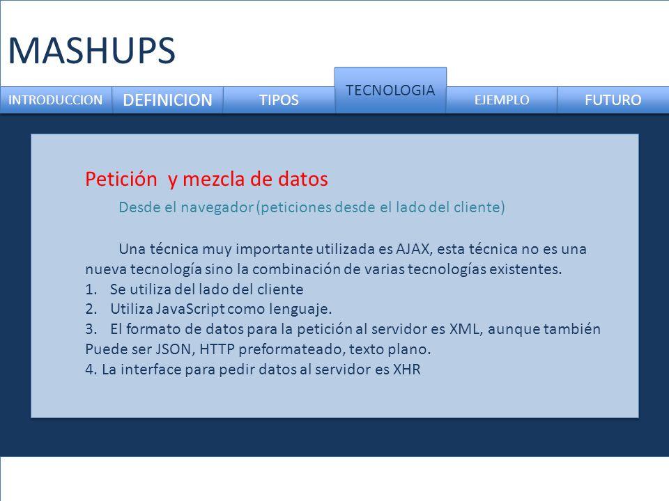 MASHUPS DEFINICION TECNOLOGIA INTRODUCCION TIPOS EJEMPLO FUTURO Petición y mezcla de datos Desde el navegador (peticiones desde el lado del cliente) U