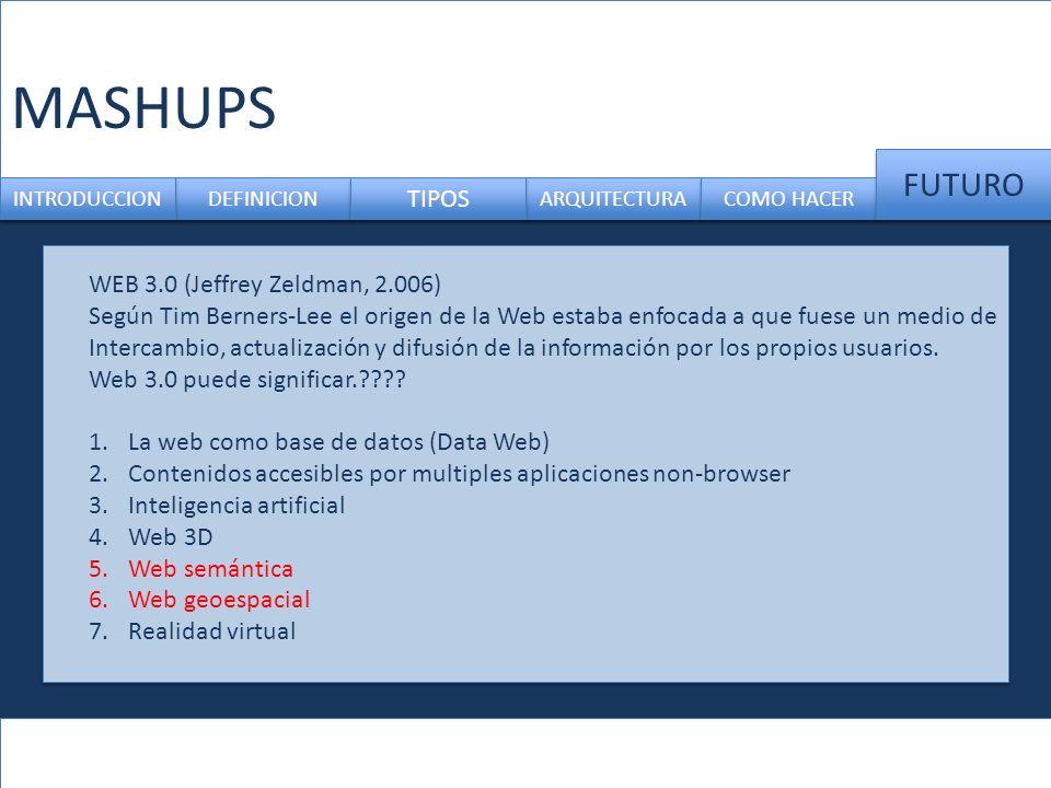 MASHUPS DEFINICION ARQUITECTURA INTRODUCCION TIPOS COMO HACER FUTURO WEB 3.0 (Jeffrey Zeldman, 2.006) Según Tim Berners-Lee el origen de la Web estaba