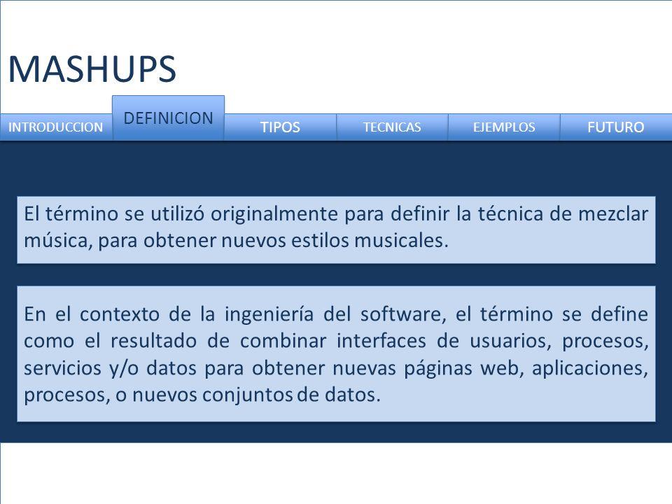 MASHUPS DEFINICION CUESTIONES INTRODUCCION TIPOS EJEMPLO FUTURO Es importante saber: 1.Si la Web tiene código abierto 2.La propiedad intelectual de los datos.