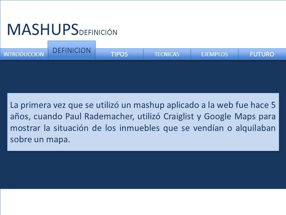 MASHUPS DEFINICION TECNICAS INTRODUCCION TIPOS EJEMPLOS FUTURO