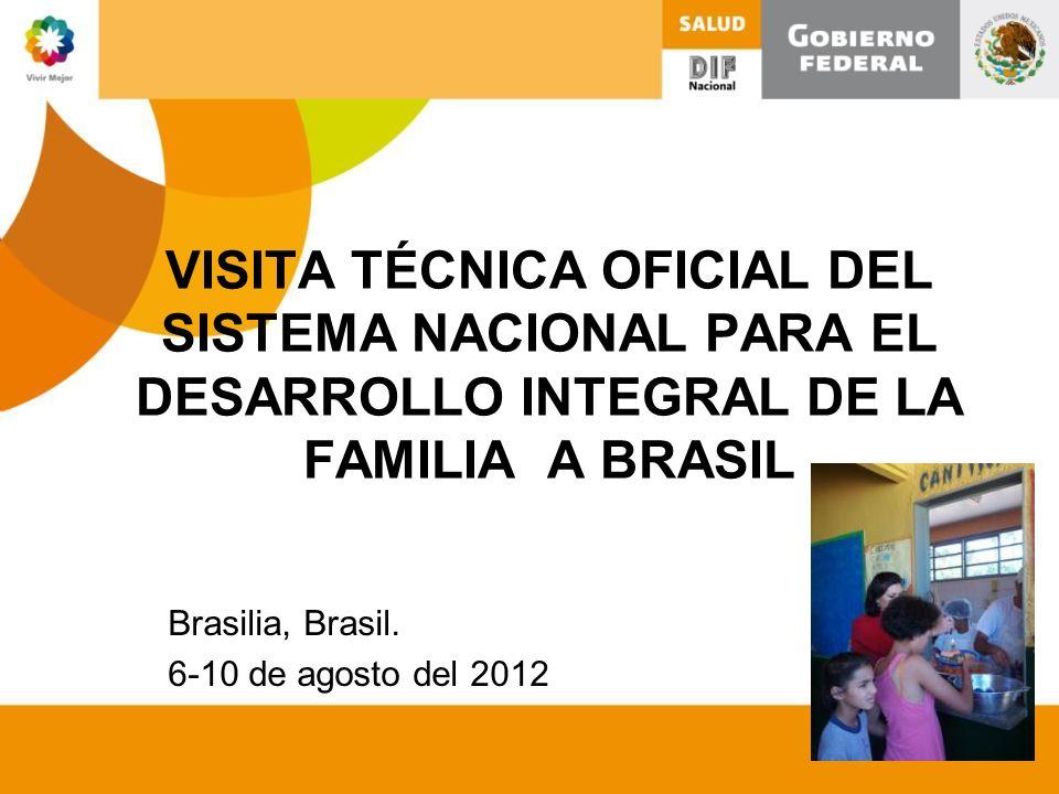 VISITA TÉCNICA OFICIAL DEL SISTEMA NACIONAL PARA EL DESARROLLO INTEGRAL DE LA FAMILIA A BRASIL Brasilia, Brasil. 6-10 de agosto del 2012