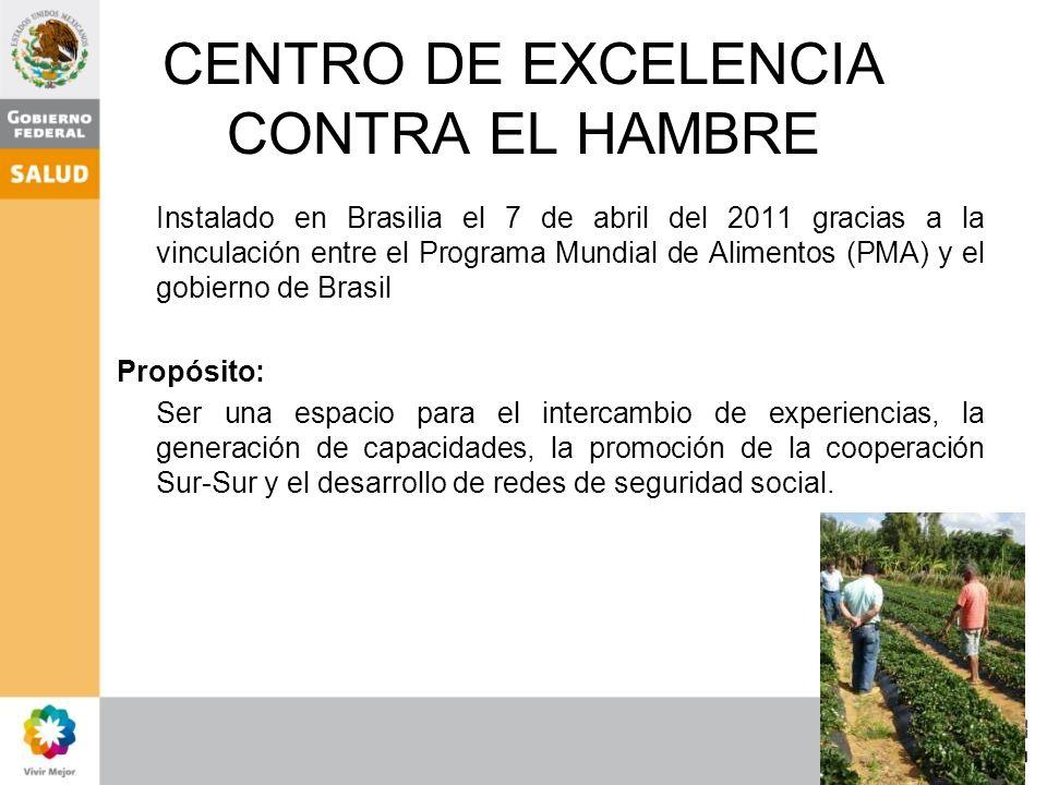 CENTRO DE EXCELENCIA CONTRA EL HAMBRE Instalado en Brasilia el 7 de abril del 2011 gracias a la vinculación entre el Programa Mundial de Alimentos (PM