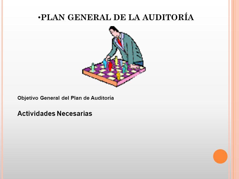 PLAN GENERAL DE LA AUDITORÍA Objetivo General del Plan de Auditoría Actividades Necesarias