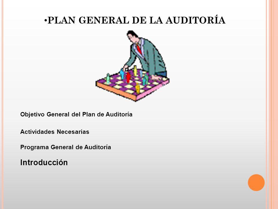 PLAN GENERAL DE LA AUDITORÍA Objetivo General del Plan de Auditoría Actividades Necesarias Programa General de Auditoría Introducción