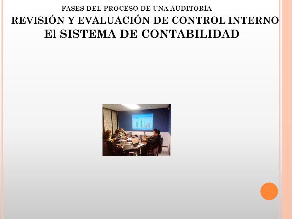 FASES DEL PROCESO DE UNA AUDITORÍA REVISIÓN Y EVALUACIÓN DE CONTROL INTERNO El SISTEMA DE CONTABILIDAD