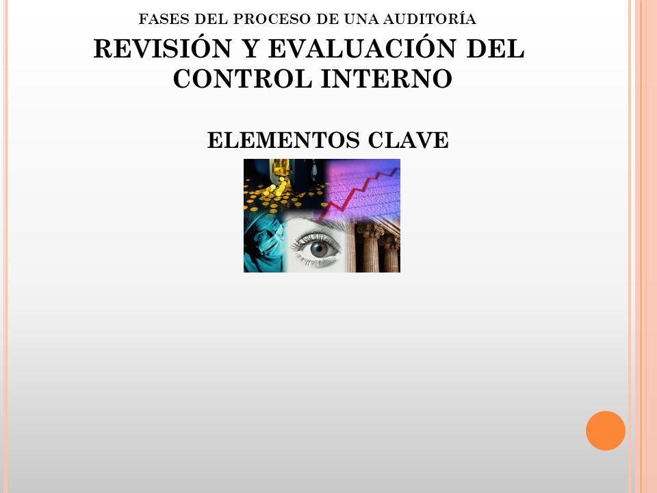 FASES DEL PROCESO DE UNA AUDITORÍA REVISIÓN Y EVALUACIÓN DEL CONTROL INTERNO ELEMENTOS CLAVE