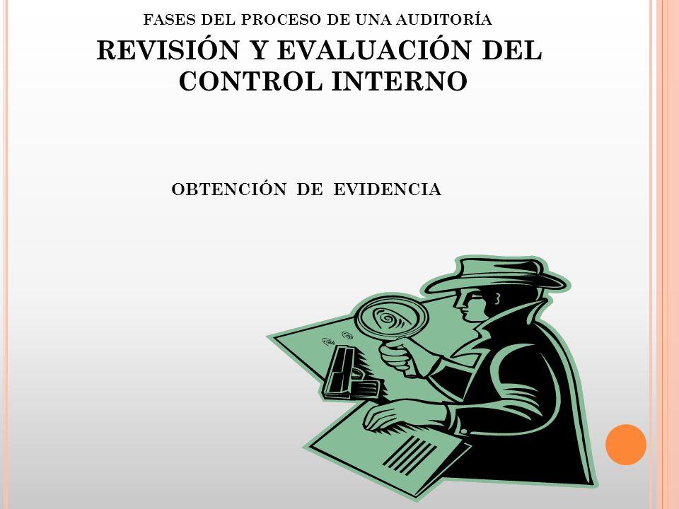 FASES DEL PROCESO DE UNA AUDITORÍA REVISIÓN Y EVALUACIÓN DEL CONTROL INTERNO OBTENCIÓN DE EVIDENCIA