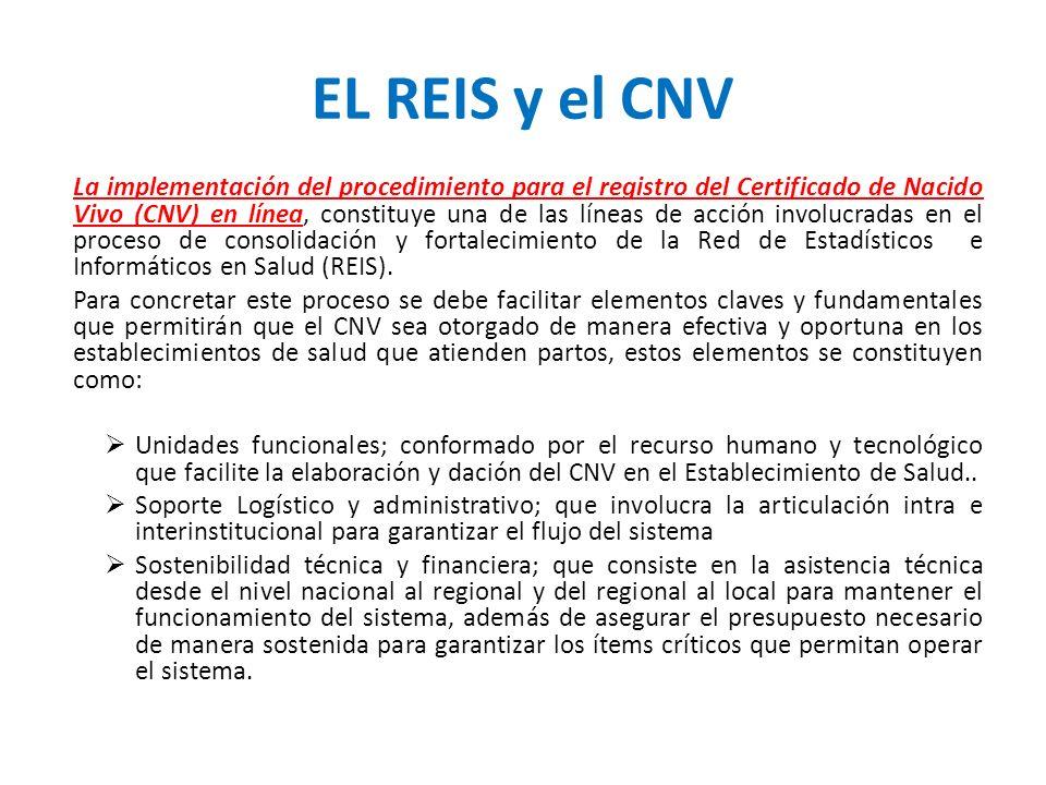 EL REIS y el CNV La implementación del procedimiento para el registro del Certificado de Nacido Vivo (CNV) en línea, constituye una de las líneas de a