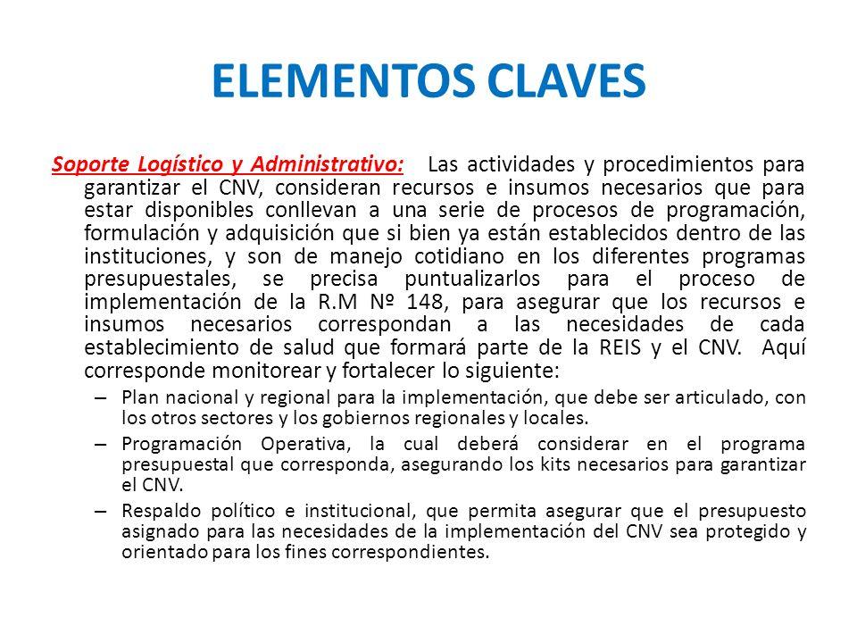 ELEMENTOS CLAVES Soporte Logístico y Administrativo: Las actividades y procedimientos para garantizar el CNV, consideran recursos e insumos necesarios