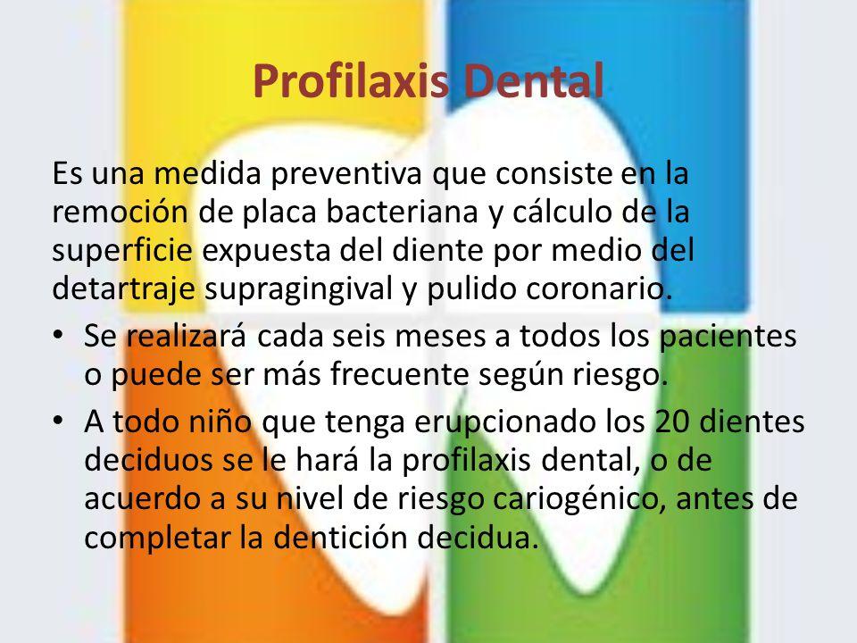 Profilaxis Dental Es una medida preventiva que consiste en la remoción de placa bacteriana y cálculo de la superficie expuesta del diente por medio de