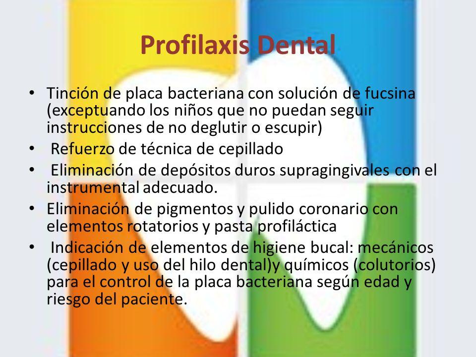 Profilaxis Dental Tinción de placa bacteriana con solución de fucsina (exceptuando los niños que no puedan seguir instrucciones de no deglutir o escup