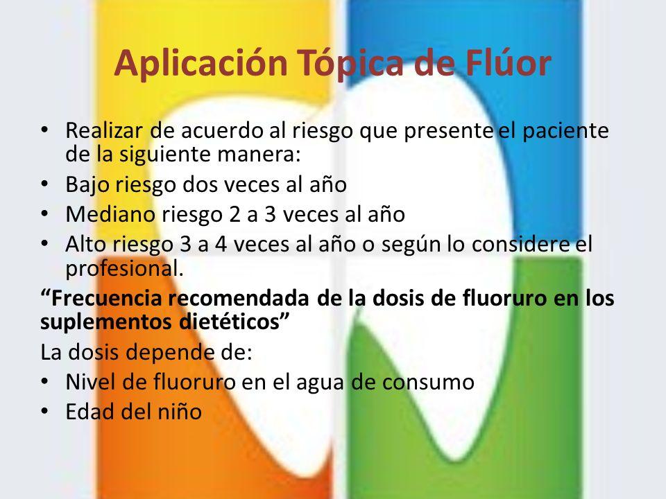 Aplicación Tópica de Flúor Realizar de acuerdo al riesgo que presente el paciente de la siguiente manera: Bajo riesgo dos veces al año Mediano riesgo