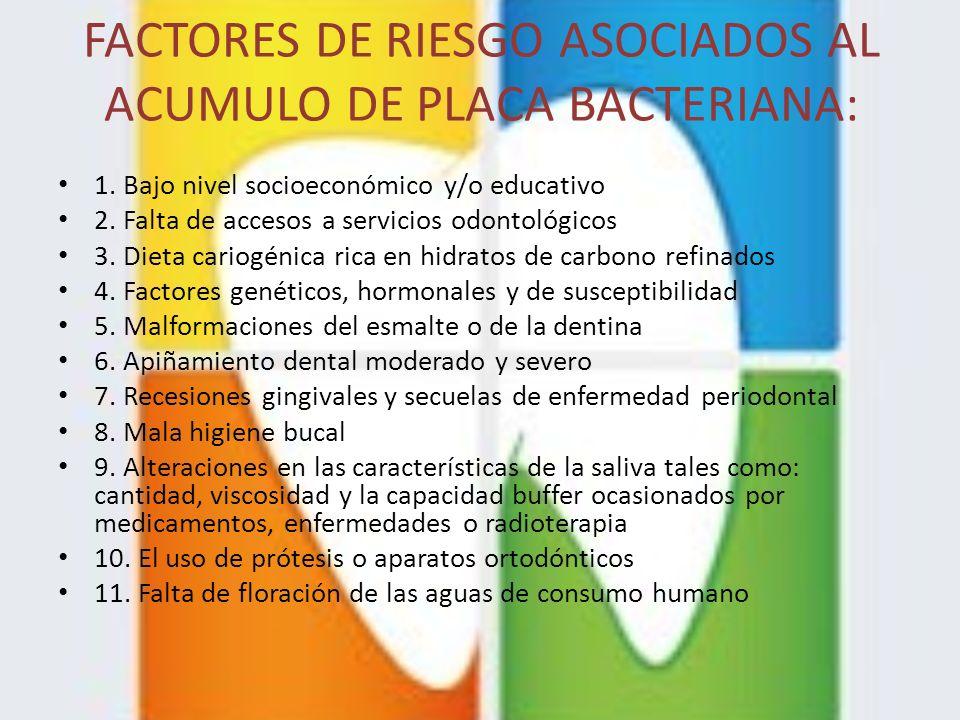 FACTORES DE RIESGO ASOCIADOS AL ACUMULO DE PLACA BACTERIANA: 1. Bajo nivel socioeconómico y/o educativo 2. Falta de accesos a servicios odontológicos