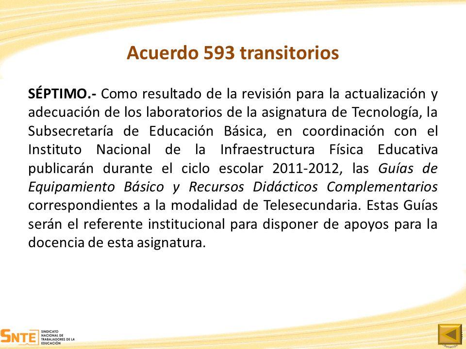 Acuerdo 593 transitorios SÉPTIMO.- Como resultado de la revisión para la actualización y adecuación de los laboratorios de la asignatura de Tecnología