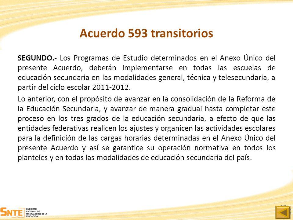 Acuerdo 593 transitorios SEGUNDO.- Los Programas de Estudio determinados en el Anexo Único del presente Acuerdo, deberán implementarse en todas las es