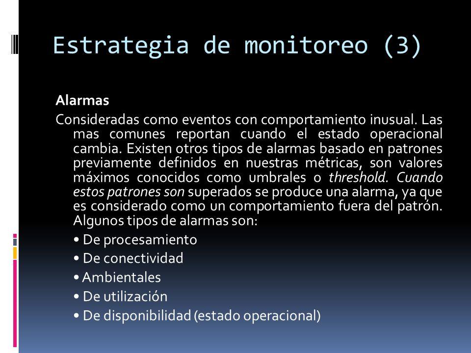 Estrategia de monitoreo (3) Alarmas Consideradas como eventos con comportamiento inusual.