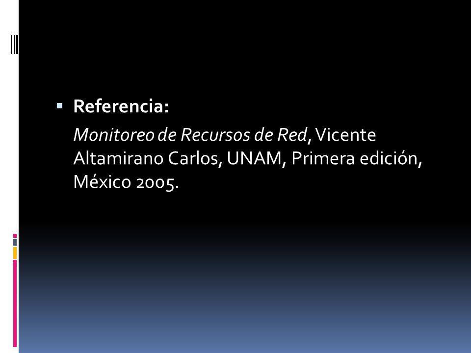 Referencia: Monitoreo de Recursos de Red, Vicente Altamirano Carlos, UNAM, Primera edición, México 2005.