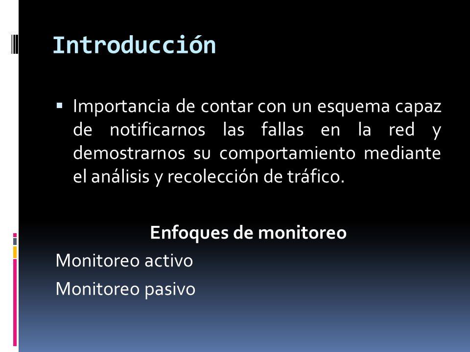 Introducción Importancia de contar con un esquema capaz de notificarnos las fallas en la red y demostrarnos su comportamiento mediante el análisis y recolección de tráfico.