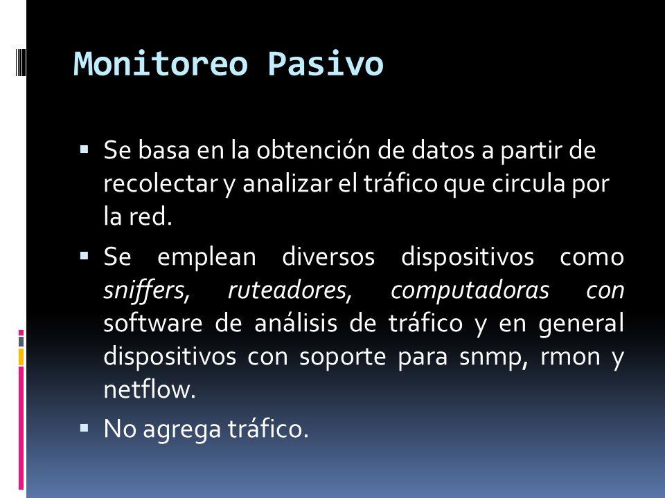 Técnicas de monitoreo pasivo Solicitudes remotas: Mediante SNMP Utilizada para obtener estadísticas sobre la utilización de ancho de banda en los dispositivos de red.
