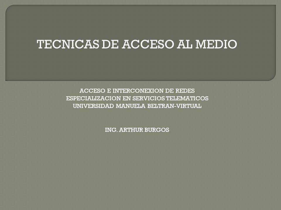 TECNICAS DE ACCESO AL MEDIO ACCESO E INTERCONEXION DE REDES ESPECIALIZACION EN SERVICIOS TELEMATICOS UNIVERSIDAD MANUELA BELTRAN-VIRTUAL ING. ARTHUR B