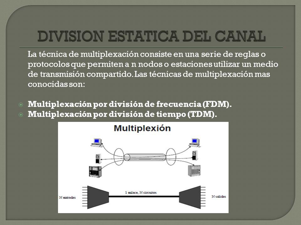 La técnica de multiplexación consiste en una serie de reglas o protocolos que permiten a n nodos o estaciones utilizar un medio de transmisión compart