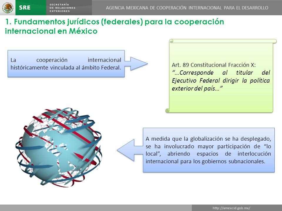 DIRECCIÓN GENERAL DE COOPERACIÓN TÉCNICA Y CIENTÍFICA http://amexcid.gob.mx/ AGENCIA MEXICANA DE COOPERACIÓN INTERNACIONAL PARA EL DESARROLLO 1.