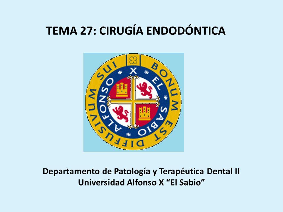 Endodoncia ConvencionalCirugía endodóntica DAÑO PULPAR Y PERIRRADICULAR IRREVERSIBLE CONSERVACIÓN DE LA PIEZA DENTARIA INTRODUCCIÓN Endodoncia convencional y Cirugía Endodóntica caminan de la mano, quedando así obsoleta la idea que solía identificar al tratamiento ortógrado como conservador, y al tratamiento quirúrgico como radical, cuando lo que se pretende con la cirugía es la conservación de un diente que de otra forma estaría condenado a ser extraído.