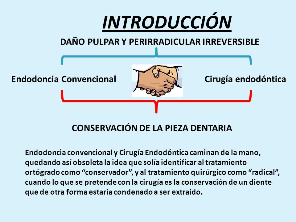 Endodoncia ConvencionalCirugía endodóntica DAÑO PULPAR Y PERIRRADICULAR IRREVERSIBLE CONSERVACIÓN DE LA PIEZA DENTARIA INTRODUCCIÓN Endodoncia convenc