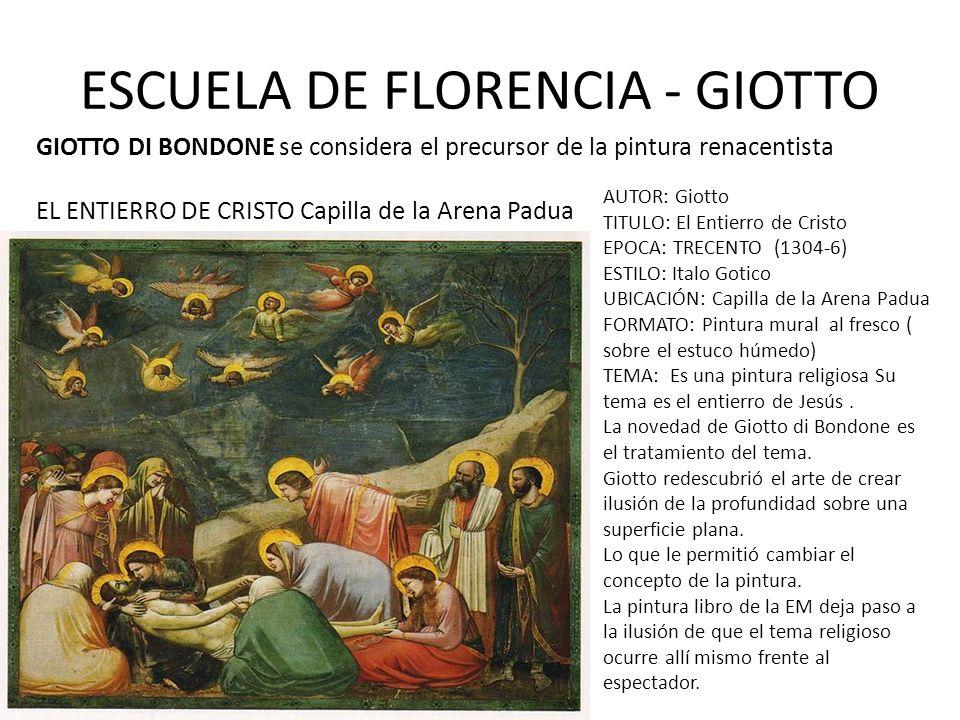 ESCUELA DE FLORENCIA - GIOTTO GIOTTO DI BONDONE se considera el precursor de la pintura renacentista EL ENTIERRO DE CRISTO Capilla de la Arena Padua A