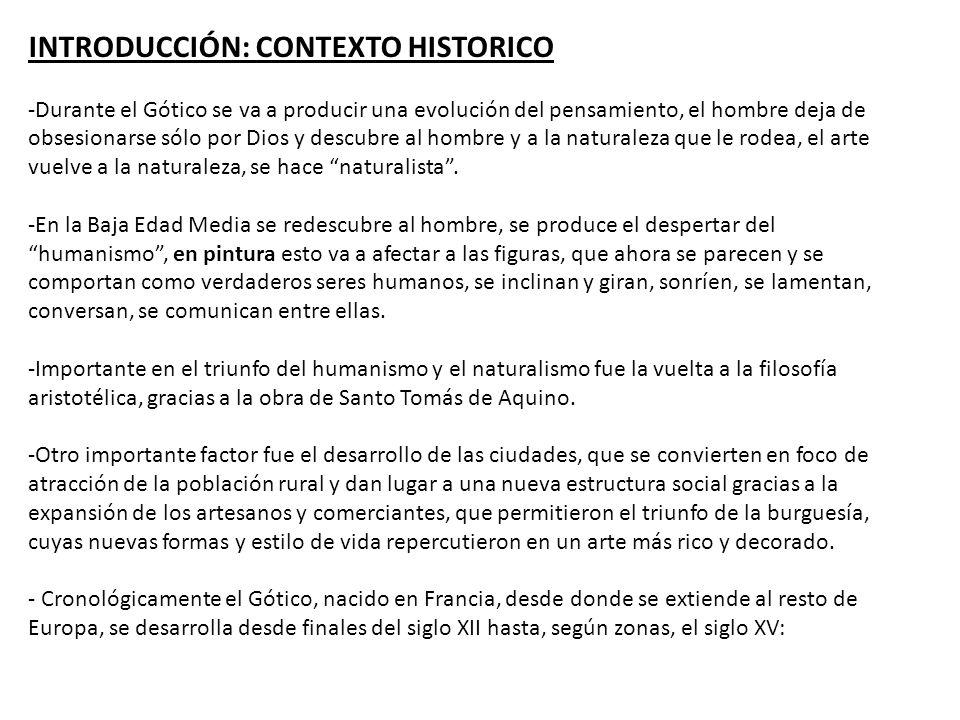 CRONOLOGIA : APARICION DE LA PINTURA GÓTICA El estilo de pintura GOTICO no apareció hasta el 1200, casi 50 años más tarde que la arquitectura y la escultura.