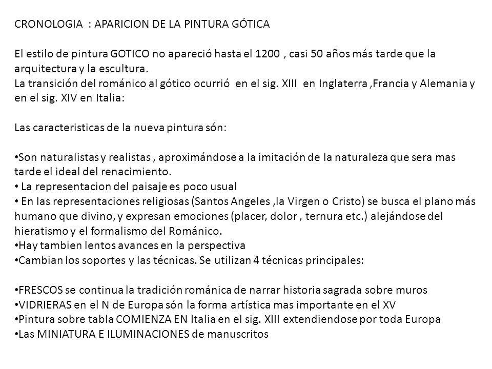CRONOLOGIA : APARICION DE LA PINTURA GÓTICA El estilo de pintura GOTICO no apareció hasta el 1200, casi 50 años más tarde que la arquitectura y la esc