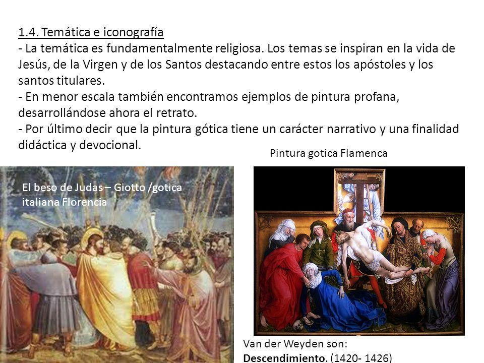1.4. Temática e iconografía - La temática es fundamentalmente religiosa. Los temas se inspiran en la vida de Jesús, de la Virgen y de los Santos desta
