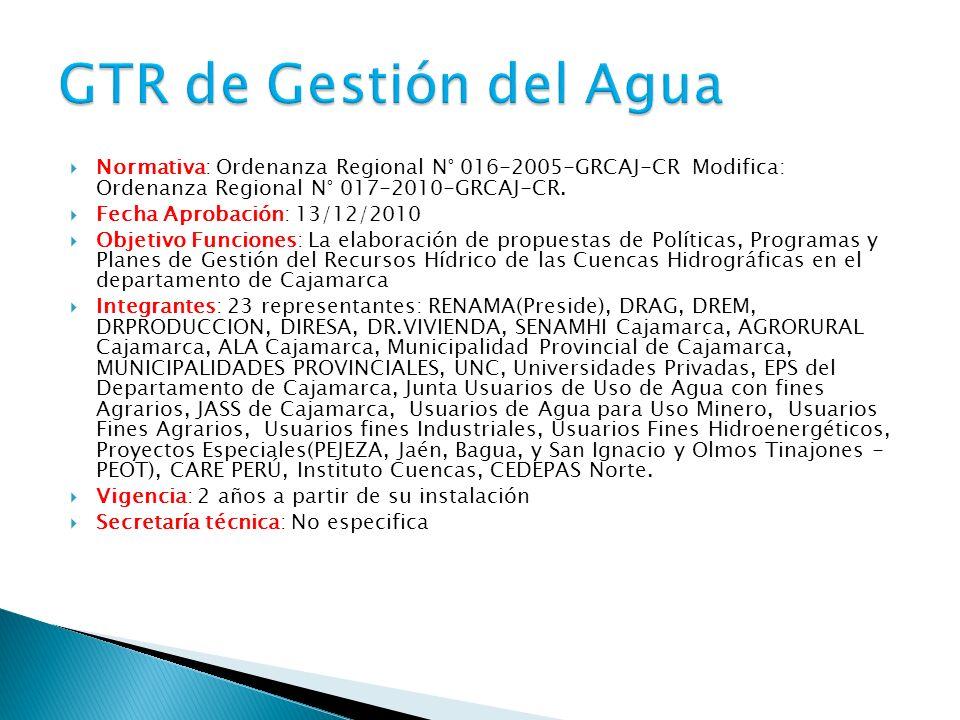 Normativa: Ordenanza Regional N° 016-2005-GRCAJ-CR Modifica: Ordenanza Regional N° 017-2010-GRCAJ-CR.