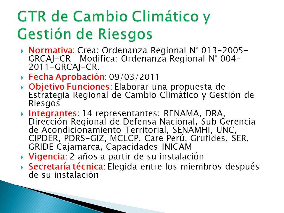 Normativa: Crea: Ordenanza Regional N° 013-2005- GRCAJ-CR Modifica: Ordenanza Regional N° 004- 2011-GRCAJ-CR.
