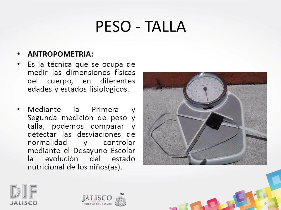 PESO - TALLA ANTROPOMETRIA: ANTROPOMETRIA: Es la técnica que se ocupa de medir las dimensiones físicas del cuerpo, en diferentes edades y estados fisiológicos.