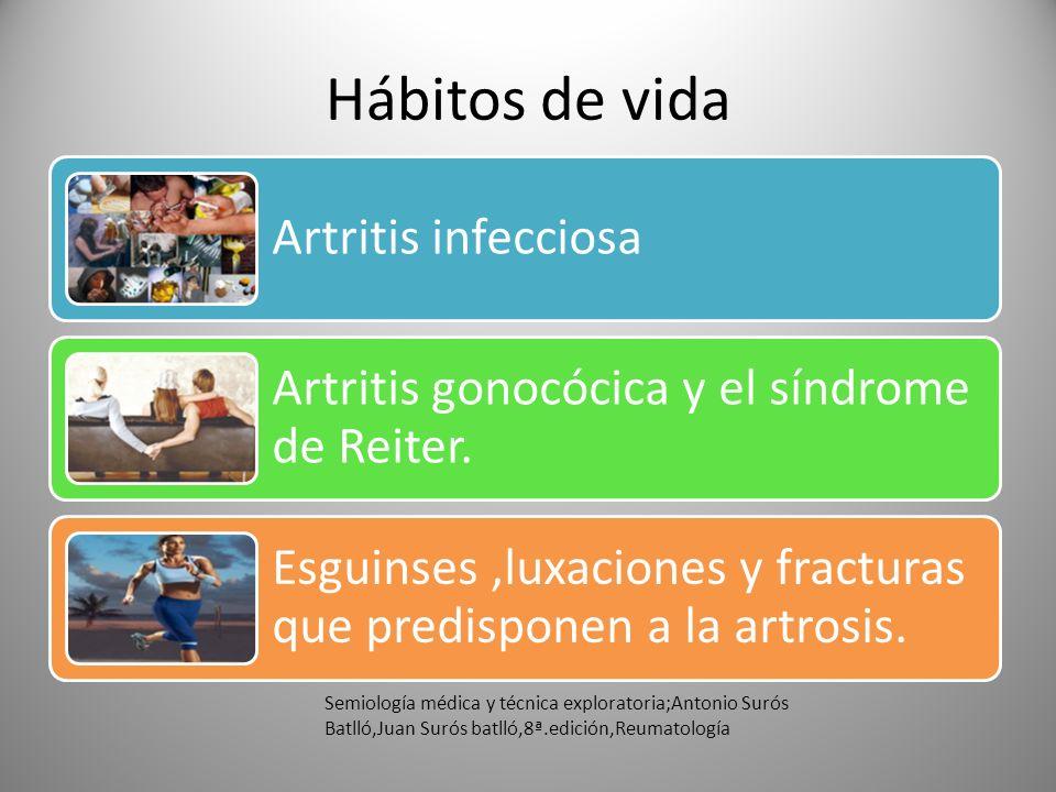 Hábitos de vida Artritis infecciosa Artritis gonocócica y el síndrome de Reiter. Esguinses,luxaciones y fracturas que predisponen a la artrosis. Semio