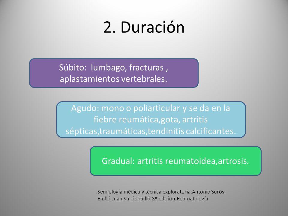 2. Duración Súbito: lumbago, fracturas, aplastamientos vertebrales. Agudo: mono o poliarticular y se da en la fiebre reumática,gota, artritis sépticas