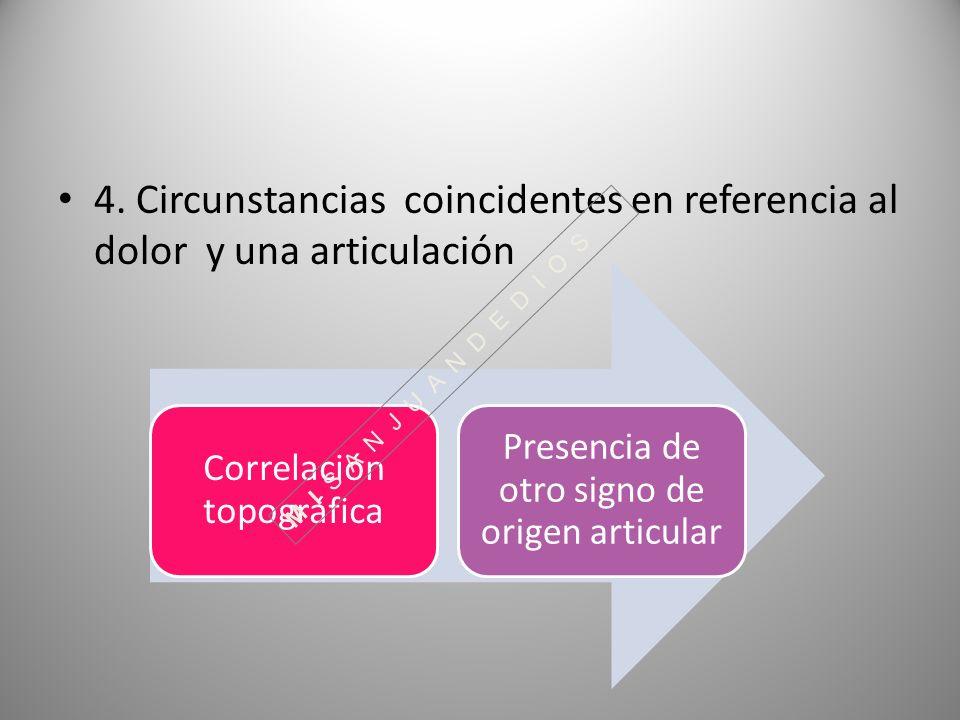 4. Circunstancias coincidentes en referencia al dolor y una articulación Correlación topográfica Presencia de otro signo de origen articular M I S A N