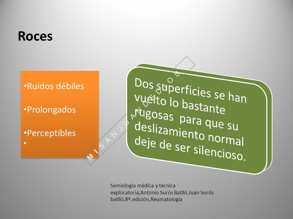 Roces Ruidos débiles Prolongados Perceptibles Ruidos débiles Prolongados Perceptibles Semiología médica y técnica exploratoria;Antonio Surós Batlló,Ju