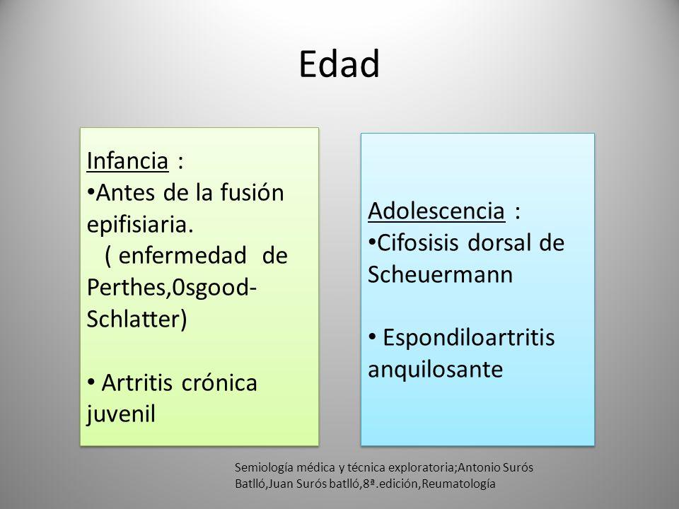 Edad Infancia : Antes de la fusión epifisiaria. ( enfermedad de Perthes,0sgood- Schlatter) Artritis crónica juvenil Infancia : Antes de la fusión epif