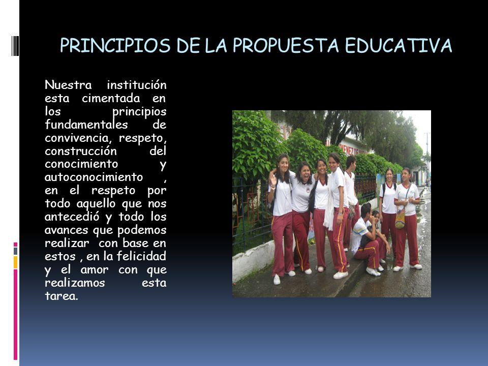 PRINCIPIOS DE LA PROPUESTA EDUCATIVA Nuestra institución esta cimentada en los principios fundamentales de convivencia, respeto, construcción del cono