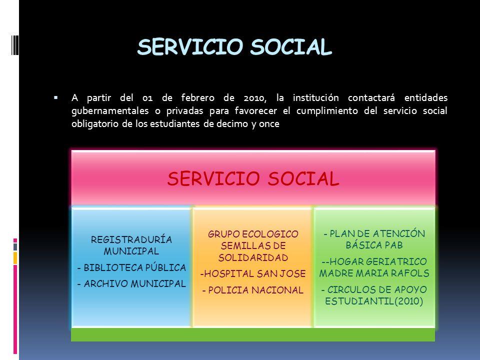 SERVICIO SOCIAL A partir del 01 de febrero de 2010, la institución contactará entidades gubernamentales o privadas para favorecer el cumplimiento del