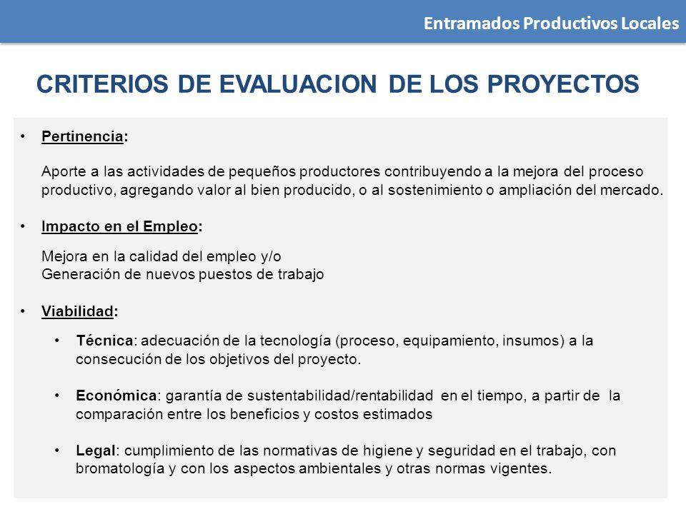 Entramados Productivos Locales Pertinencia: Aporte a las actividades de pequeños productores contribuyendo a la mejora del proceso productivo, agregan