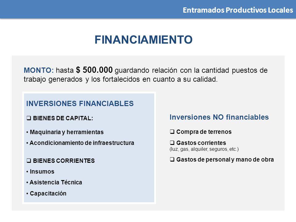 MONTO: hasta $ 500.000 guardando relación con la cantidad puestos de trabajo generados y los fortalecidos en cuanto a su calidad. INVERSIONES FINANCIA